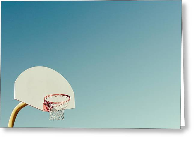 Basketball Hoop With Blue Sky Greeting Card