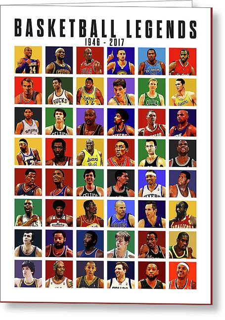 Basketball Legends Greeting Card by Semih Yurdabak