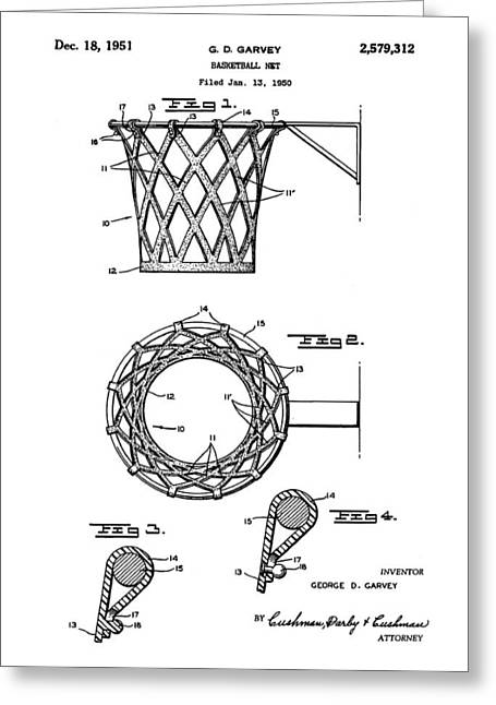 Basketball Net Patent 1951 Greeting Card by Bill Cannon