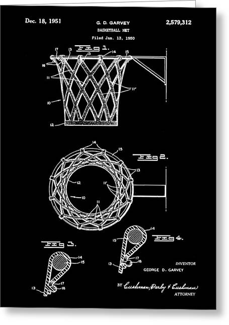 Basketball Net Patent 1951 In Black Greeting Card by Bill Cannon