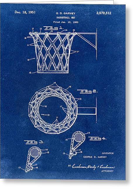Basketball Net Patent 1951 In Blue Greeting Card by Bill Cannon