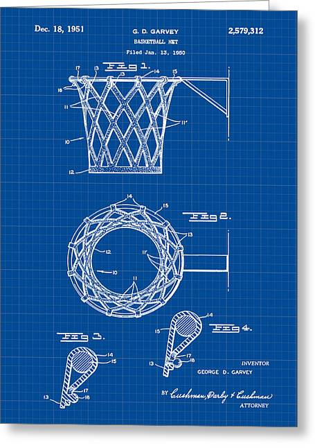 Basketball Net Patent 1951 In Blue Print Greeting Card by Bill Cannon