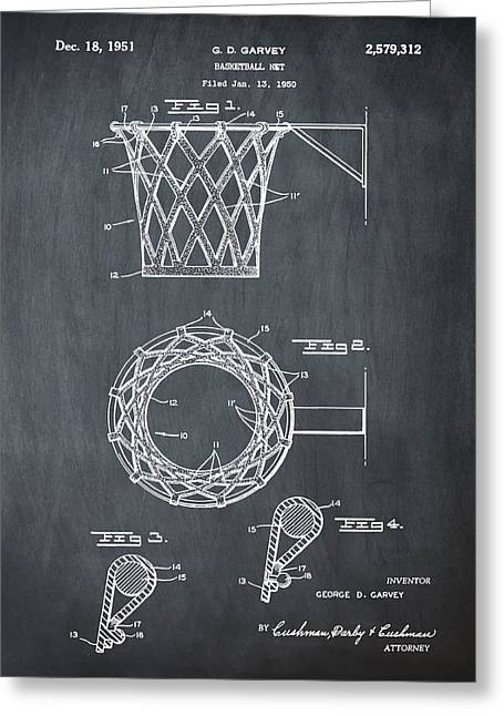 Basketball Net Patent 1951 In Chalk Greeting Card by Bill Cannon