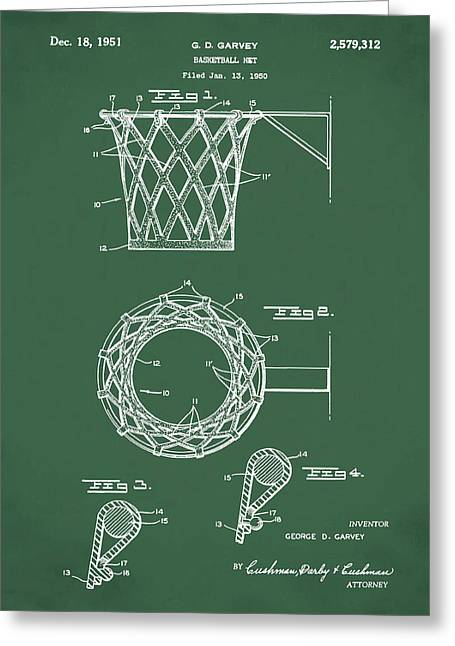 Basketball Net Patent 1951 In Green Greeting Card by Bill Cannon
