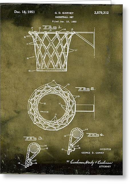 Basketball Net Patent 1951 In Grunge Greeting Card by Bill Cannon