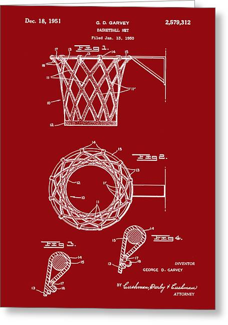 Basketball Net Patent 1951 In Red Greeting Card by Bill Cannon
