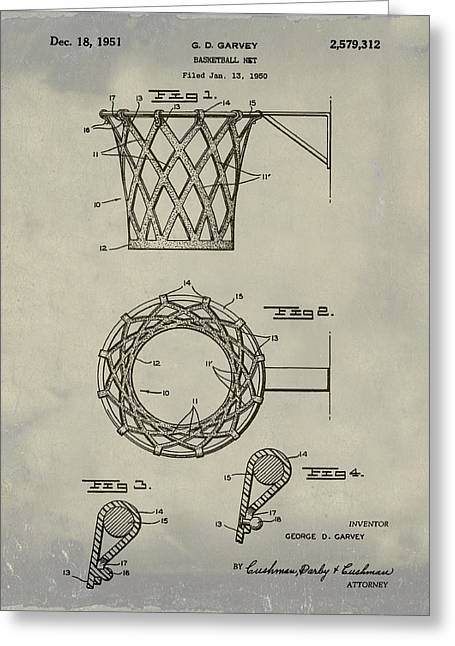 Basketball Net Patent 1951 In Weathered Greeting Card by Bill Cannon
