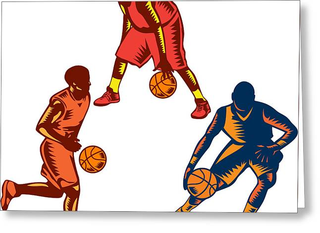 Basketball Player Dribble Woodcut Collection Greeting Card by Aloysius Patrimonio