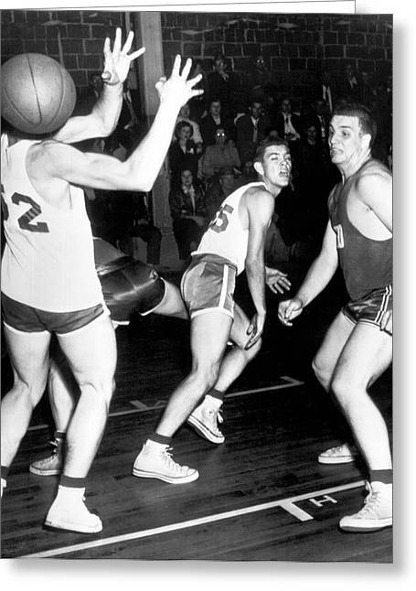 Basketball Player Head Greeting Card by Underwood Archives