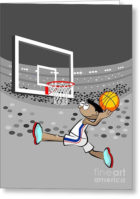 Basketball Player Jumping And Flying To Shoot The Ball In The Hoop Greeting Card