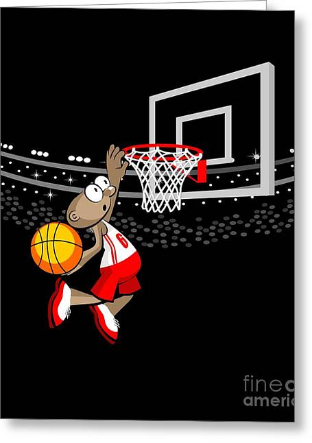 Basketball Player Jumping To Hit The Ball Greeting Card