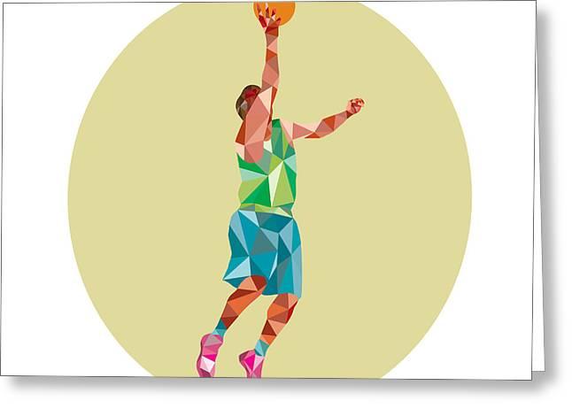 Basketball Player Lay Up Rebounding Ball Low Polygon Greeting Card