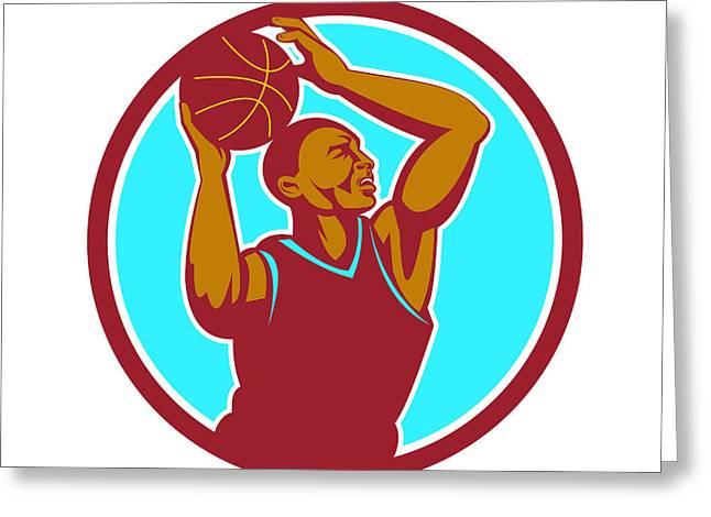 Basketball Player Rebounding Ball Circle Retro Greeting Card