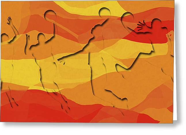 Basketball Players Abstract Greeting Card by David G Paul