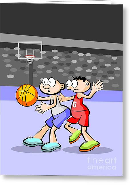 Basketball Players Fighting For Possession Of The Ball Greeting Card