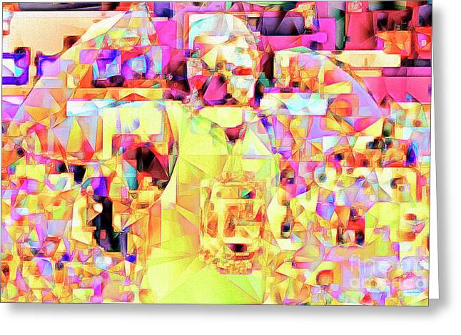 Basketball Power Flex In Abstract Cubism 20170328 Greeting Card by Wingsdomain Art and Photography