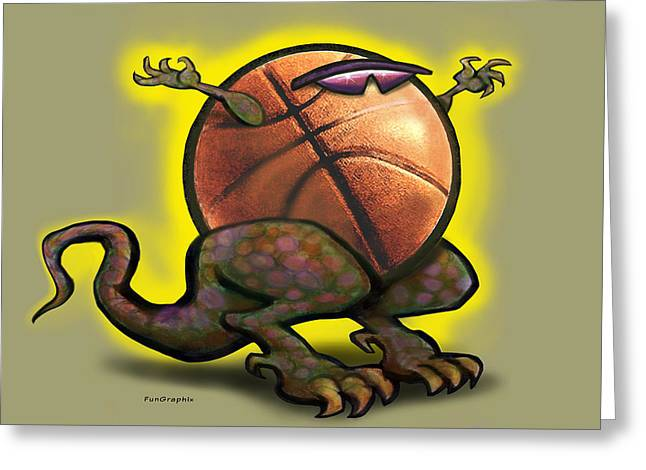 Basketball Saurus Rex Greeting Card