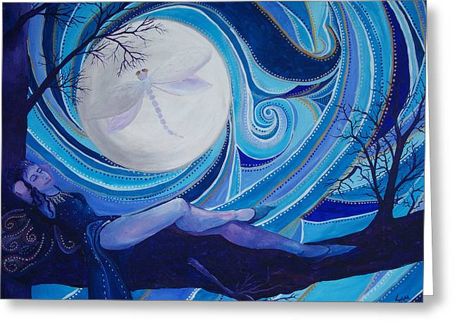 Basking In My Moonlight Greeting Card by Samantha Rochard