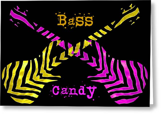 Greeting Card featuring the digital art Bass Candy by Guitar Wacky