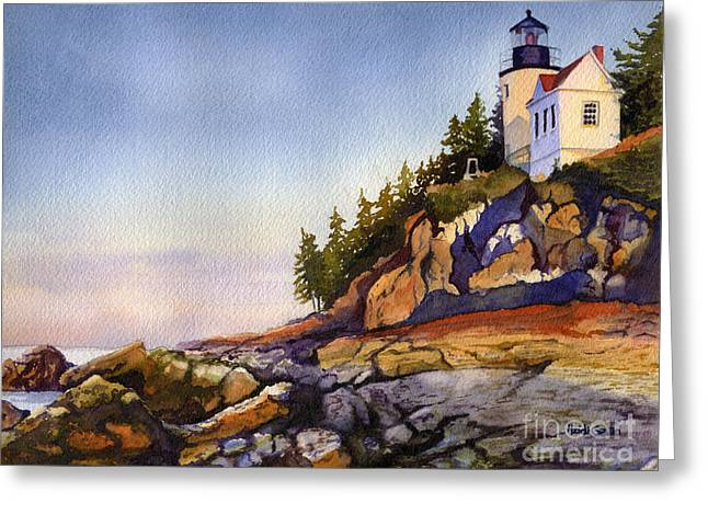Bass Harbor Head Light Greeting Card by Heidi Gallo