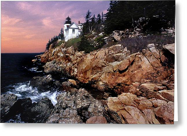 Bass Harbor Head Lighthouse In Maine Greeting Card by Skip Willits