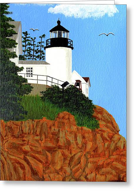 Bass Harbor Head Lighthouse Painting Greeting Card by Frederic Kohli