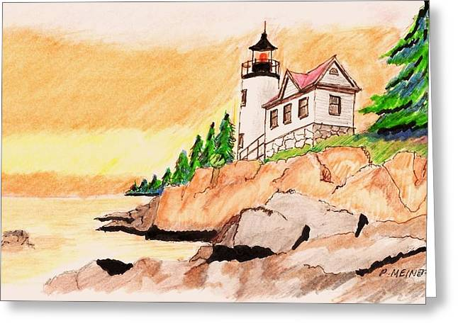 Bass Harbor Head Lighthouse Greeting Card by Paul Meinerth