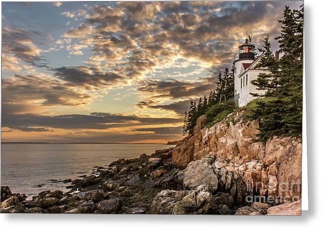 Bass Harbor Head Lighthouse Sunset Greeting Card