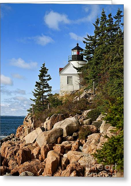 Bass Harbor Light Greeting Card by John Greim