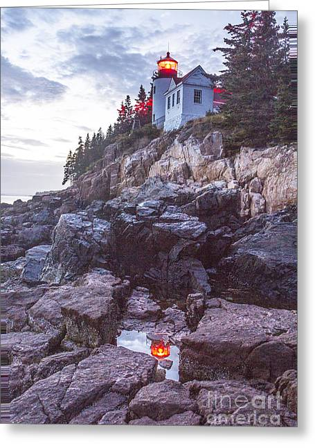 Bass Harbor Light Reflection Greeting Card