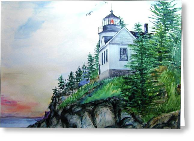 Bass Harbor Light Greeting Card by Ron Stephens