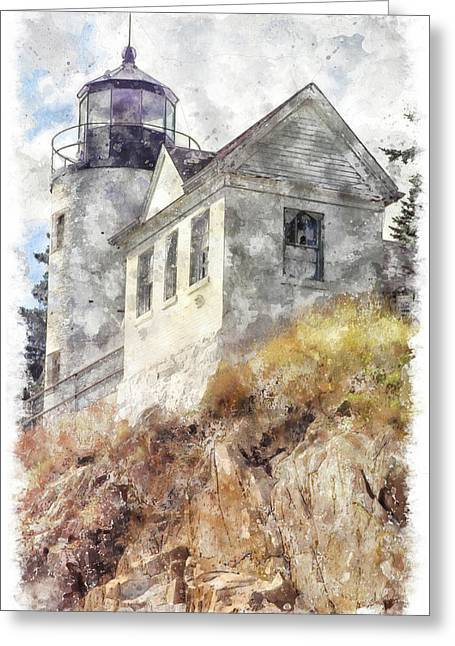 Bass Harbor Light Wc Greeting Card