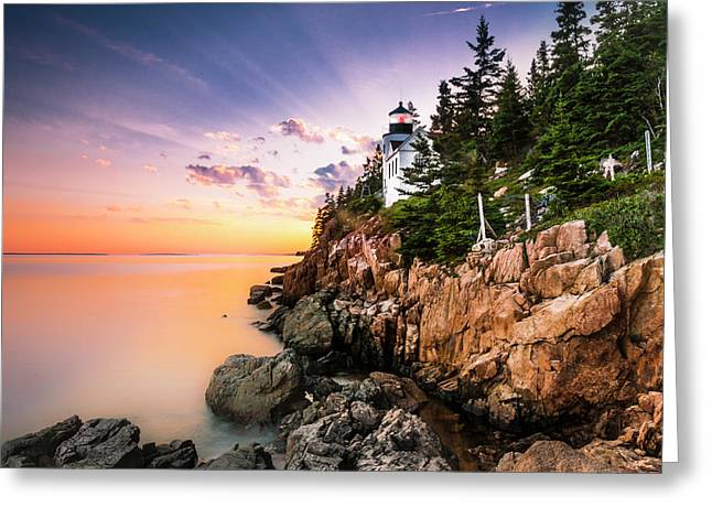 Greeting Card featuring the photograph Bass Harbor Lighthouse Sunset by Ranjay Mitra