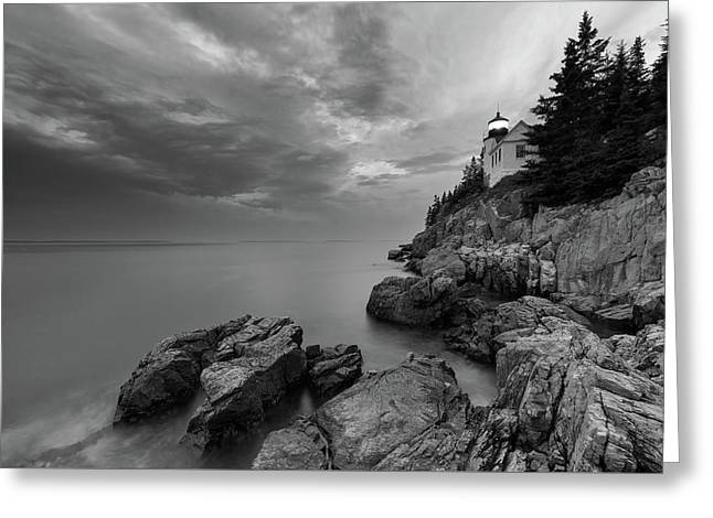 Bass Harbor Mood - B/w Greeting Card by Michael Blanchette