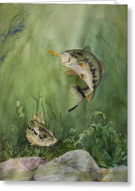 Bass On The Bottom Greeting Card