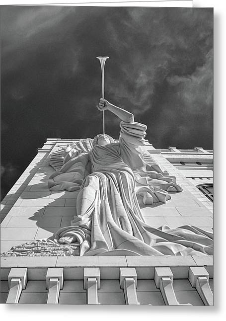 Greeting Card featuring the photograph Bass Performance Hall Angel by Guy Whiteley