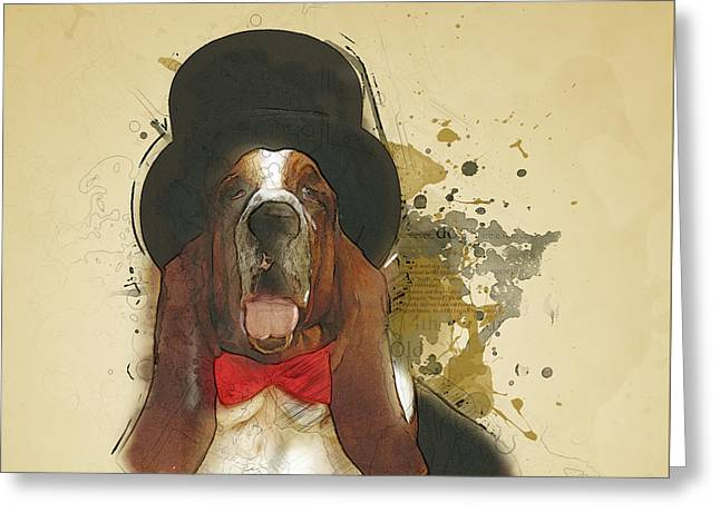 Basset Hound Greeting Card by BONB Creative