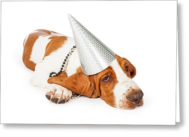 Basset Hound Dog Wearing Silver Party Hat Greeting Card by Susan Schmitz