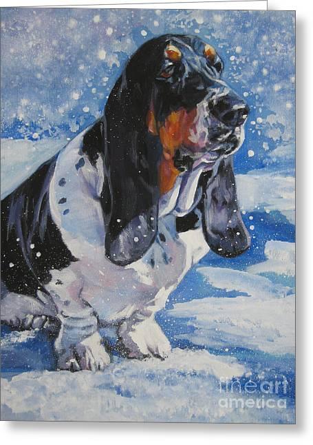 basset Hound in snow Greeting Card by Lee Ann Shepard