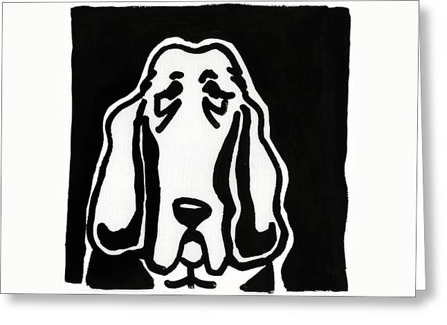 Basset Hound Ink Sketch Greeting Card by Leanne WILKES