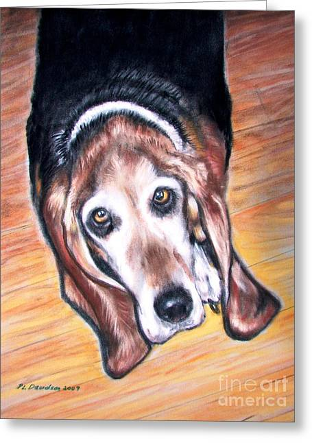 Basset Hound  Greeting Card by Patricia L Davidson