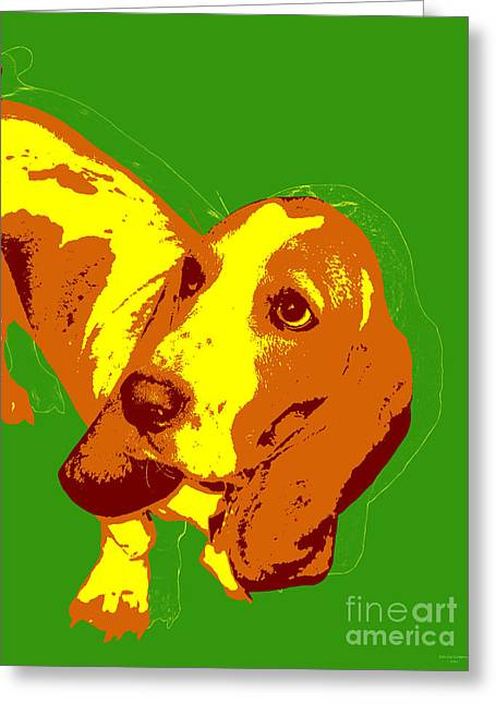 Greeting Card featuring the digital art Basset Hound Pop Art by Jean luc Comperat