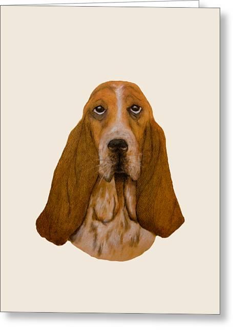 Basset Hound Portrait Greeting Card by John Stuart Webbstock