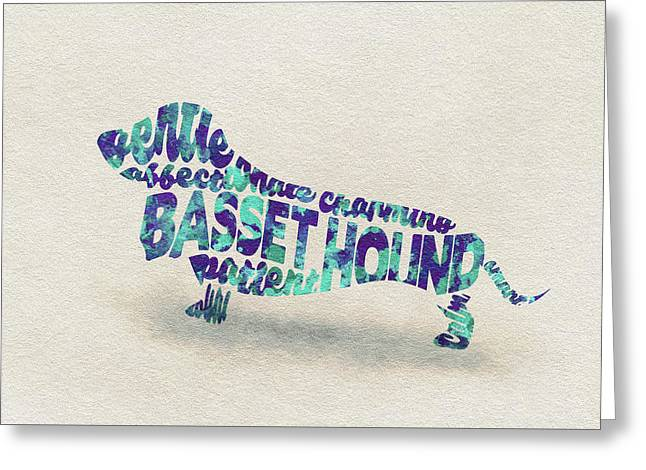 Basset Hound Watercolor Painting / Typographic Art Greeting Card