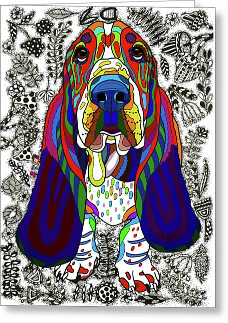 Basset Hound Greeting Card by ZileArt