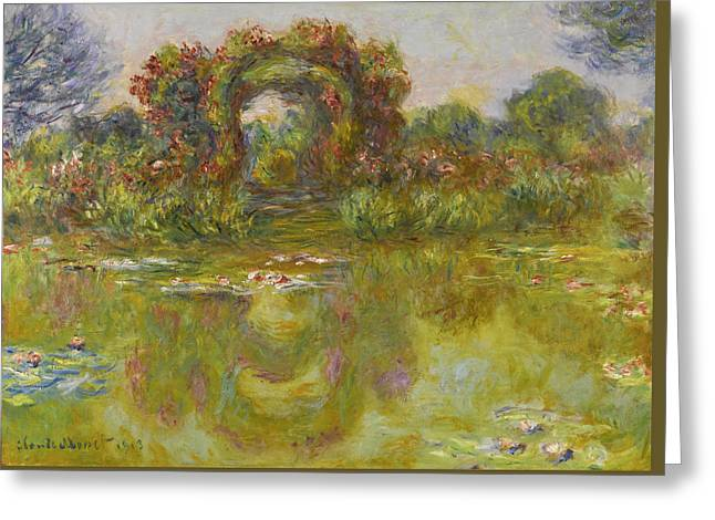 Bassin Aux Nympheas. Les Rosiers Greeting Card by Claude Monet