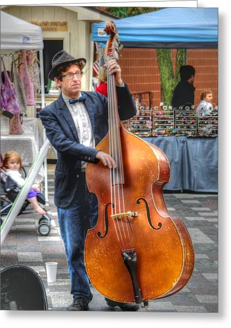 Bass Player Greeting Cards - Bassist Greeting Card by David Bearden