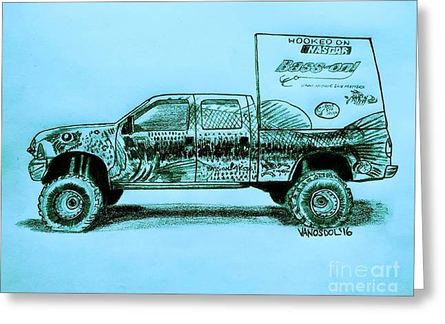 Basszilla Monster Truck - Blue Background Greeting Card