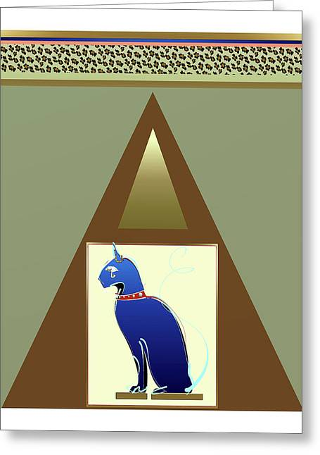 Greeting Card featuring the mixed media Bastet  by Larry Talley