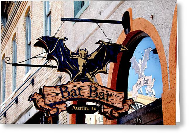 Bat Bar - Austin Texas Greeting Card by Art Block Collections